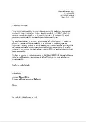 carta recomendación laboral ejemplo 1