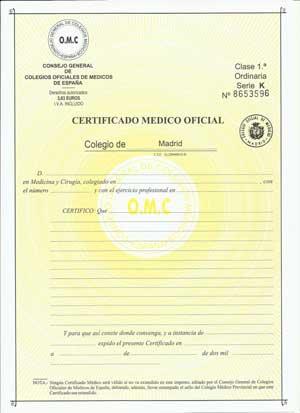 certificado medico oficial